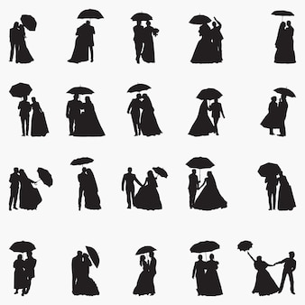 Illustration de silhouettes de parapluie nouvellement mariage
