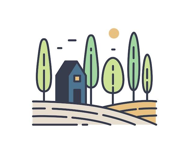 Illustration simple d'art de ligne de paysage rural. paysage de campagne aux contours colorés avec une petite maison sur le terrain ou une prairie entourée d'arbres. signe de vecteur coloré isolé sur fond blanc.