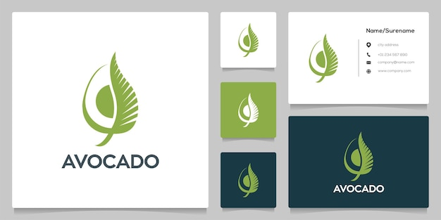 Illustration simple de conception de logo de feuille de tranche d'avocat