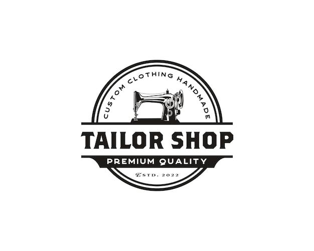 Illustration simple du modèle de conception de logo de magasin de couture de logo de machine à coudre manuelle