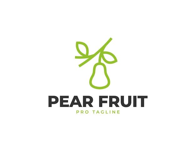 Illustration simple de logo de fruit de poire fraîche