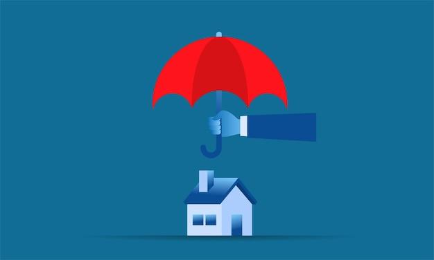 Illustration simple protection de la maison grande main tenant un parapluie rouge