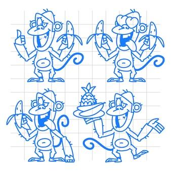 Illustration, singe dans diverses poses doodle, format eps 10