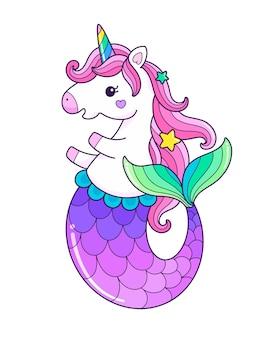 Illustration de sirène licorne mignon sirène