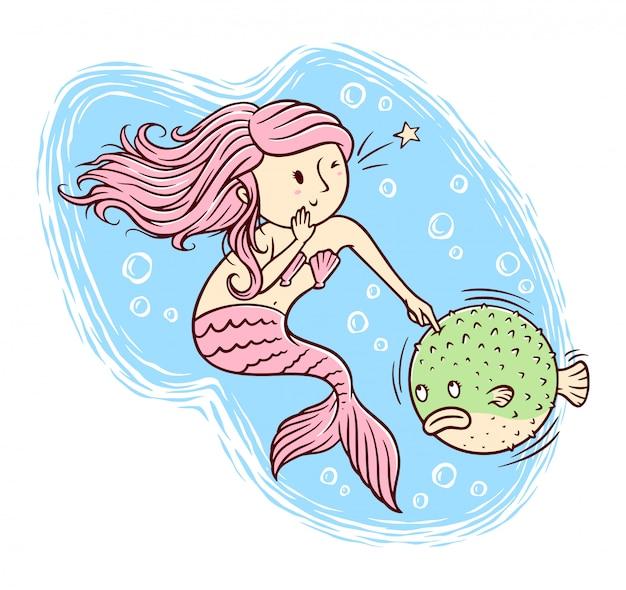 Illustration de sirènes et de poisson-globe