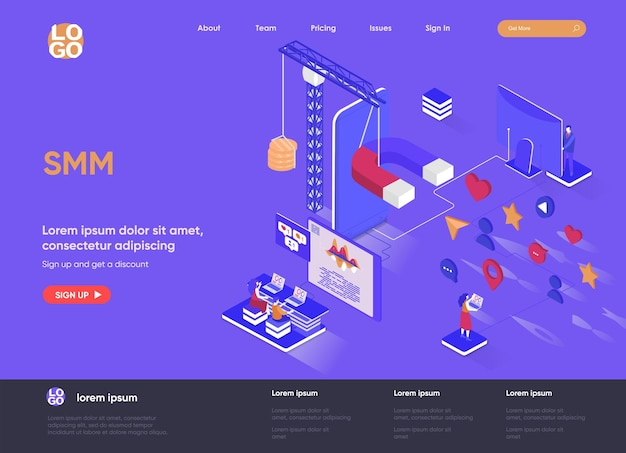 Illustration de site web de page de destination isométrique smm 3d avec des personnages de personnes