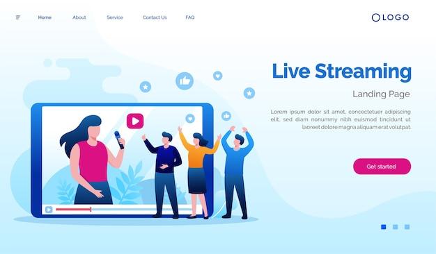 Illustration de site web de page de destination de streaming en direct