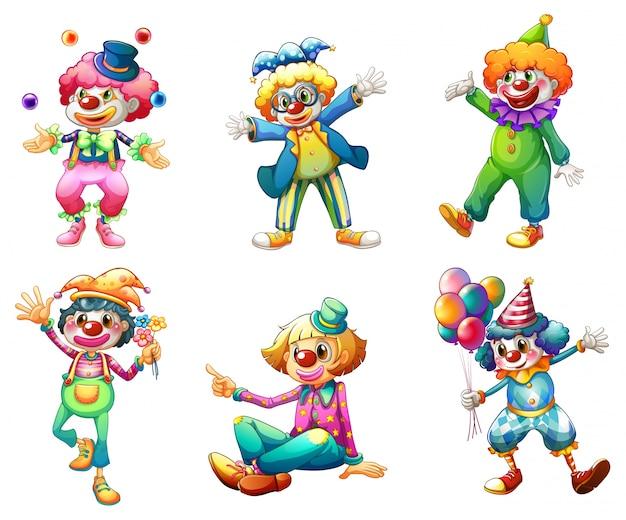 Illustration des six différents costumes de clown sur fond blanc