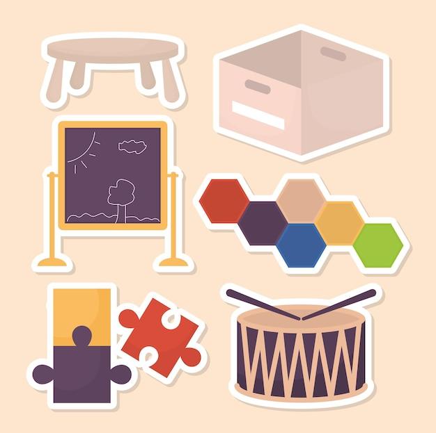 Illustration de six jouets