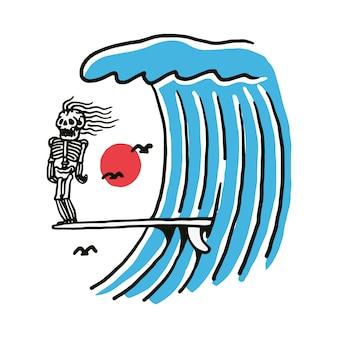 Illustration de skeleton surf beach