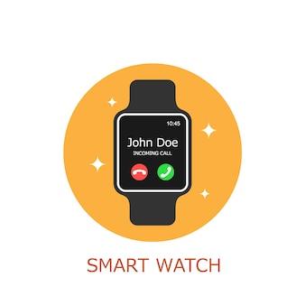 Illustration de smartwatch recevoir un appel téléphonique