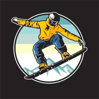 Illustration de snowboarder
