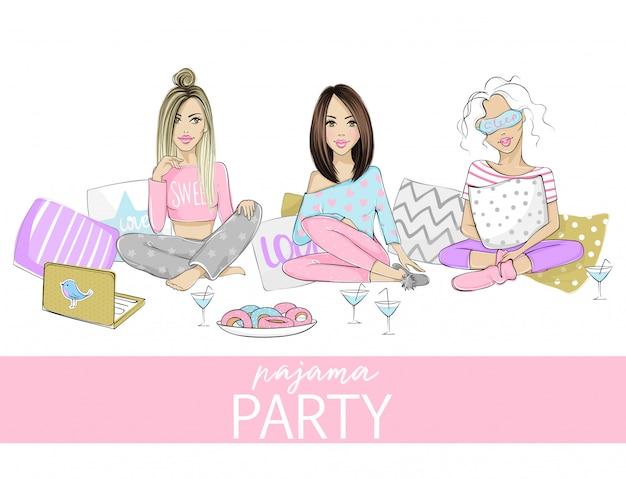 Illustration de soirée pyjama avec de belles jeunes femmes, filles, adolescents. affiche, couverture ou bannière pour un événement amusant.