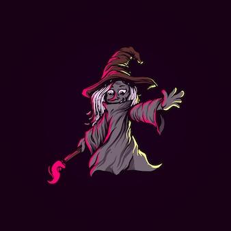 Illustration sombre de sorcière