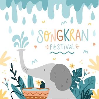 Illustration de songkran dessiné à la main