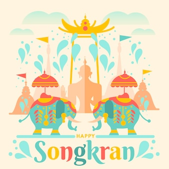 Illustration de songkran plat