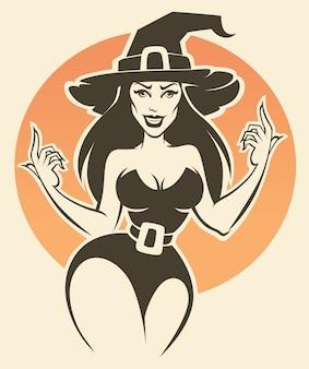 Illustration de sorcière halloween jeune et sexy