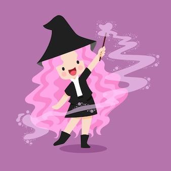 Illustration de sorcière sur le thème d'halloween