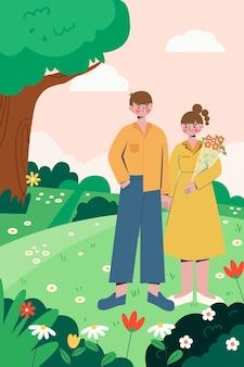 L'illustration des sorties en couple au printemps