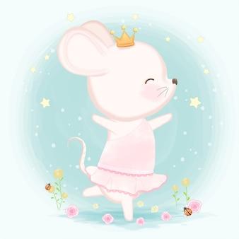 Illustration de souris mignonne dessiné