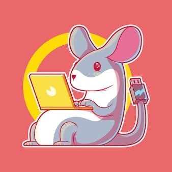 Illustration de la souris tech. technologie, ordinateur, concept de design d'entreprise.