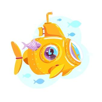 Illustration de sous-marin jaune