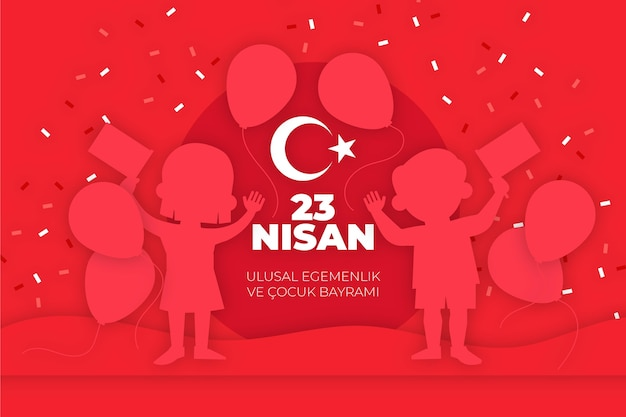 Illustration de la souveraineté nationale et de la journée des enfants avec des ballons et des confettis