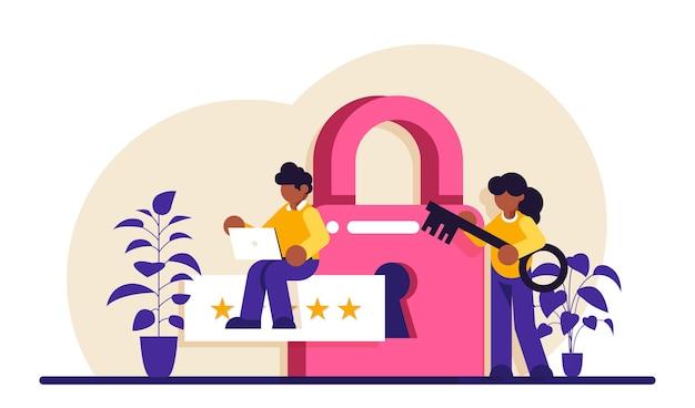 Illustration de spécialiste de la cybersécurité ou de la sécurité web de l'administrateur de données