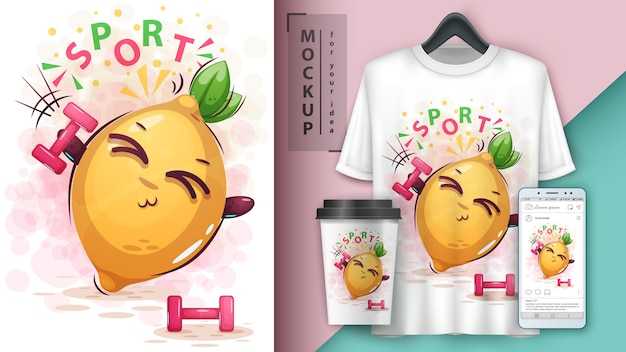 Illustration de sport barbell citron et merchandising