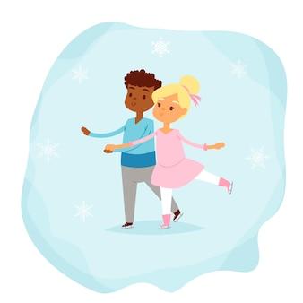 Illustration de sport d'hiver de patinage artistique.