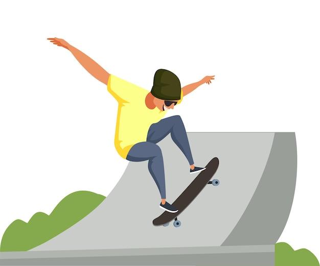 Illustration de sport de planche à roulettes, tour de sportif adolescent dans le tube