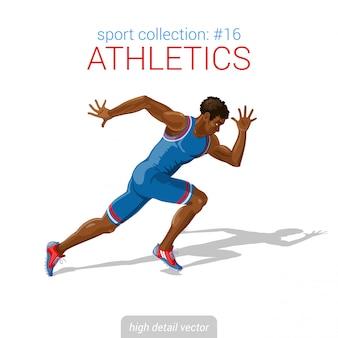 Illustration de sprinter athlète coureur homme noir.