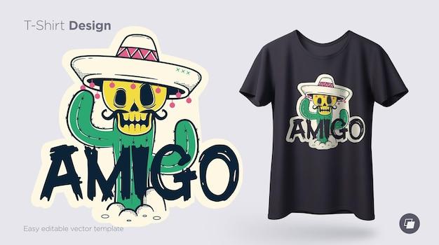 Illustration de squelette drôle imprimer sur des t-shirts, des sweat-shirts et des souvenirs mot espagnol ami