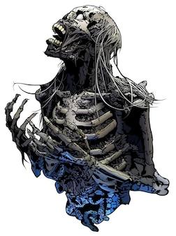 Illustration squelette d'horreur isolé sur fond blanc