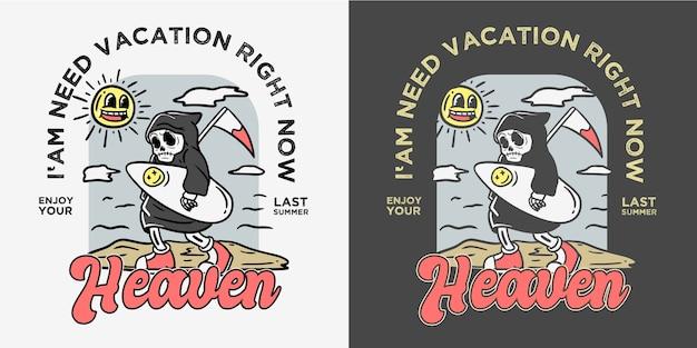 Illustration de squelette de surfeur de style cartoon ancien vintage