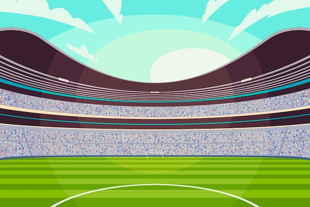 Illustration De Stade De Football De Football Plat Vecteur gratuit