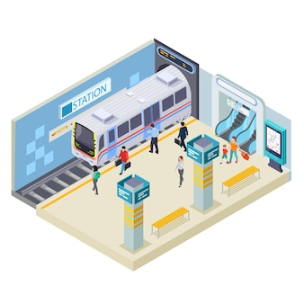 Illustration de la station de métro sur blanc