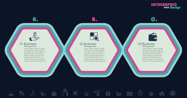 Illustration de stock d'infographie en 3 étapes illustration de stock vectorielle d'hexagone d'infographie