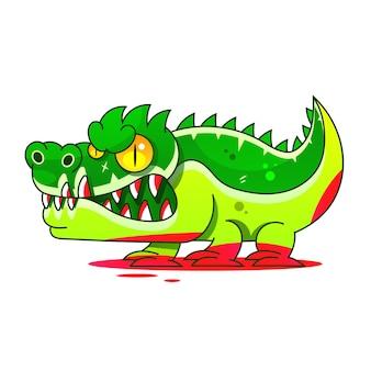 Illustration de stock de vecteur de dessin animé alligator mascotte sur un fond. pour la conception, la décoration, le logo.