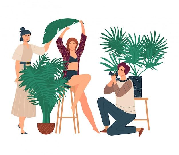 Illustration de studio photo, photographe homme dessin animé prenant une photo avec une belle jeune femme, séance photo sur blanc