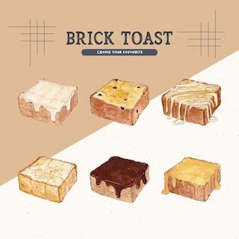 Illustration de style aquarelle de pain grillé en brique