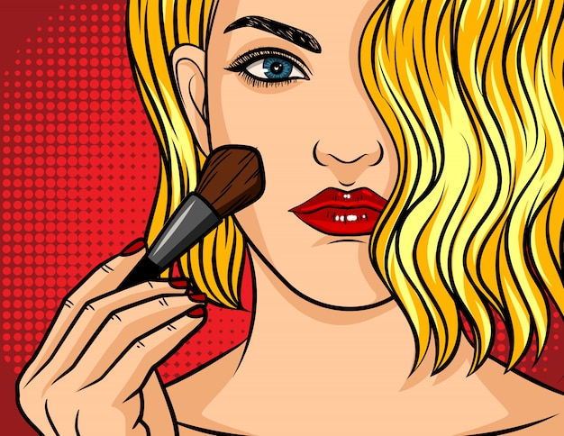 Illustration de style bande dessinée pop art, fille avec rouge à lèvres sur pointillé rouge