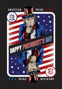 Illustration de style carte à jouer de l'oncle sam pour célébrer la journée du président de l'amérique