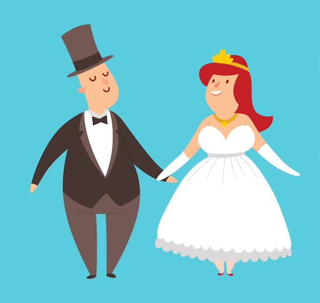 Illustration de style cartoon couples de mariage