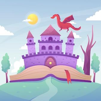 Illustration avec style de château de conte de fées