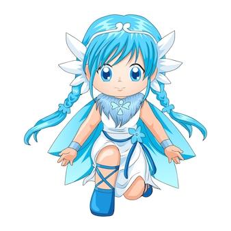 Illustration de style chibi d'une super-héroïne