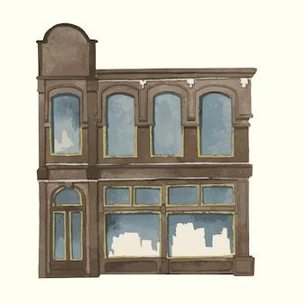 Illustration d'un style de couleur de l'eau extérieur de construction de ville européenne vintage