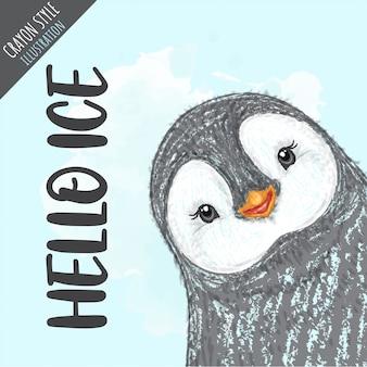 Illustration de style crayon pingouin mignon