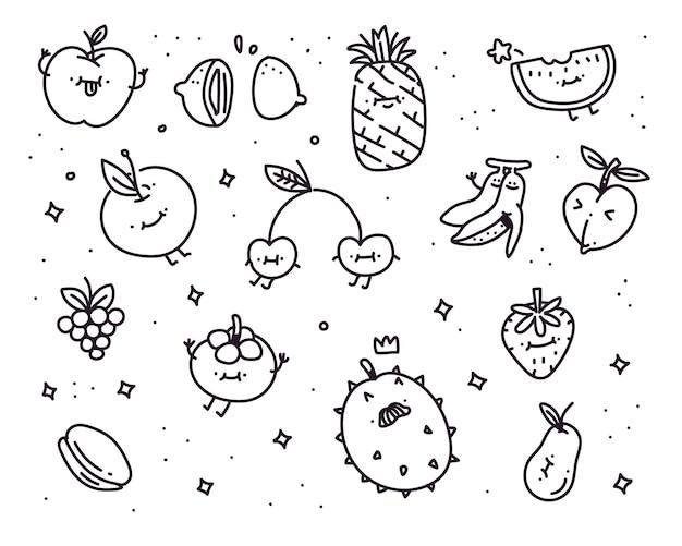 Illustration de style doodle de légumes