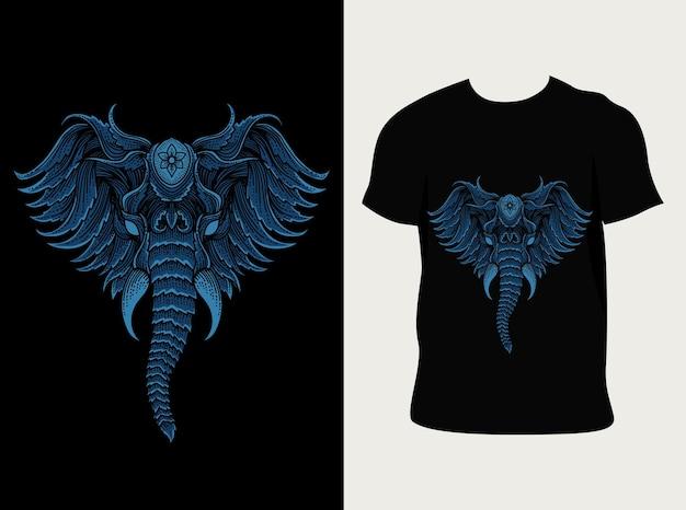 Illustration de style de gravure tête d'éléphant sur t-shirt